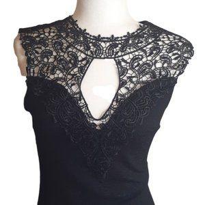 Vintage black sparkle lace detail bodycon dress sm